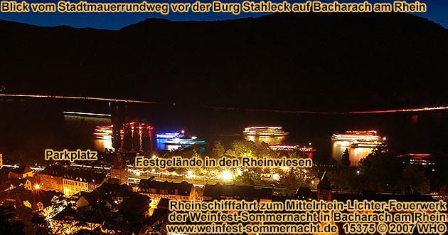 Rheinschifffahrt zum Mittelrhein-Lichter Feuerwerk bei der Weinfest-Sommernacht